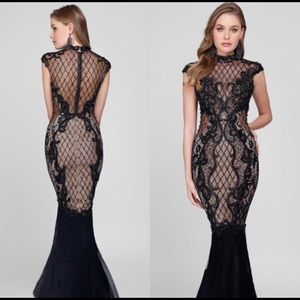 Jovani prom homecoming lace beaded mermaid gown